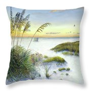 Sunset And Sea Oats At Siesta Key Public Beach Throw Pillow