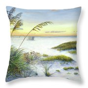 Sunset And Sea Oats At Siesta Key Public Beach -wide Throw Pillow