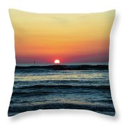 Sunset And Waves Throw Pillow