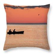 Sunset Anglers Throw Pillow