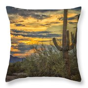 Sunset Approaches - Arizona Sonoran Desert Throw Pillow