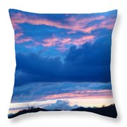 Sunset Art Print Blue Twilight Clouds Pink Glowing Light Over Mountains Throw Pillow