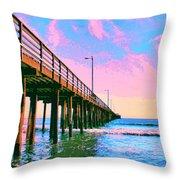 Sunset At Avila Beach Pier Throw Pillow
