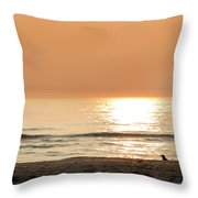 Sunset At Beach Throw Pillow