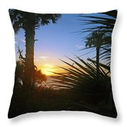 Sunset At Bearefoot Beach In Naples Throw Pillow by Robb Stan