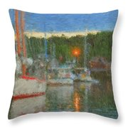 Sunset At Boothbay Harbor Maine Throw Pillow
