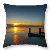 Sunset At Brackesham Bay ,west Sussex ,england  Throw Pillow