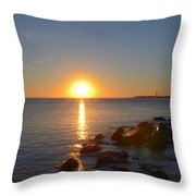 Sunset At Cape May Beach Throw Pillow