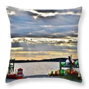 Sunset At Coastal Kayak Throw Pillow