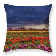 Sunset At Colorful Tulip Field Throw Pillow