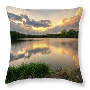 Sunset At Community Lake #8 Throw Pillow
