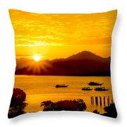 Sunset At Coron Bay Throw Pillow