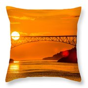 Sunset At Deception Pass Bridge Throw Pillow