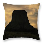 Sunset At Devils Tower Throw Pillow