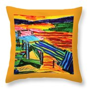 Sunset At Dock Throw Pillow