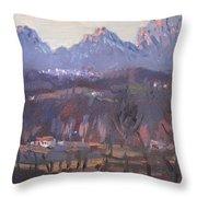 Sunset At Dolomites Belluno Throw Pillow