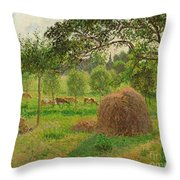 Sunset At Eragny Throw Pillow by Camille Pissarro
