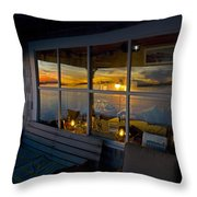Sunset At Fletchers Camp Throw Pillow by Charles Harden