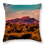 Sunset At Four Peaks Throw Pillow