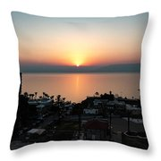 Sunset At Galilee Throw Pillow