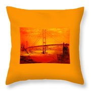 Sunset At Golden Gate Throw Pillow