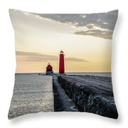 Sunset At Grand Haven Throw Pillow