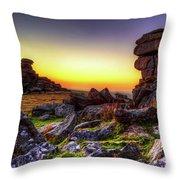 Sunset At Great Staple Tor On Dartmoor Throw Pillow