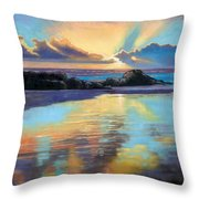 Sunset At Havika Beach Throw Pillow by Janet King