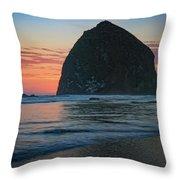 Sunset At Haystack Rock Throw Pillow