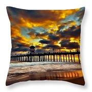 Sunset At Huntington Beach Pier Throw Pillow by Peter Dang
