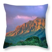 Sunset At Kalalau Lookout Throw Pillow