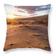 Sunset At Kelso Dunes Throw Pillow