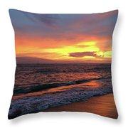 Sunset At Lahaina On Maui, Hawaii Throw Pillow