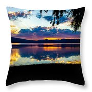 Agency Lake Sunset, Oregon Throw Pillow