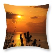 Sunset At Lake Huron Throw Pillow