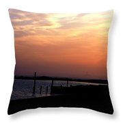 Sunset At Lordship Beach Throw Pillow
