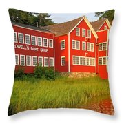 Sunset At Lowell's Boat Shop Throw Pillow