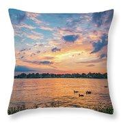Sunset At Morse Lake Throw Pillow