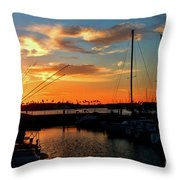 Sunset At Newport Beach Harbor Throw Pillow