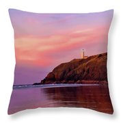 Sunset At North Head Lighthouse Throw Pillow