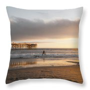 Sunset At Pacific Beach Pier - Crystal Pier - Mission Bay, San Diego, California Throw Pillow