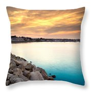 Sunset At Plymouth Harbor Throw Pillow
