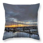 Sunset At Port Gardner Throw Pillow