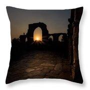 Sunset At Qutab Minar Throw Pillow