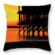 Sunset At Raft With Bird Throw Pillow