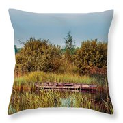 Sunset At River In Old Dutch Village Throw Pillow