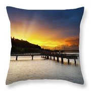 Sunset At Ruston Way Waterfront In Tacoma Throw Pillow