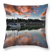 Sunset At Sellwood Riverfront Park Throw Pillow