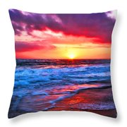 Sunset At Strands Beach Throw Pillow