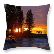 Sunset At Sunset Beach In Vancouver Bc Throw Pillow